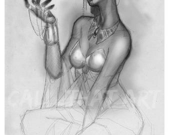 Elf Empress 11x17 Pencil Sketch/Fantasy/ Anime/ Manga/