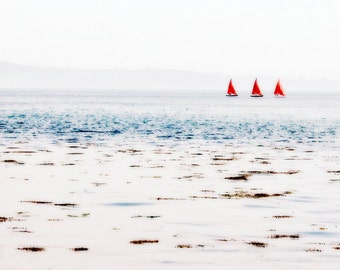 Ocean Photography - Red Boats Fine Art Photograph - Red Sails Print - Irish Ships - Beach House Decor - 5x10
