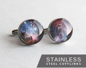 Space Cufflink,  Stainless steel suff link, Lilac Universe Cuff Link, Nebula cufflink, Wedding cuff links for groom, groomsmen, gift for him