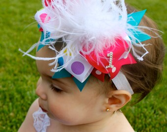 Over The Top Birthday Bow -  Birthday Headband - Birthday  Hair Bow