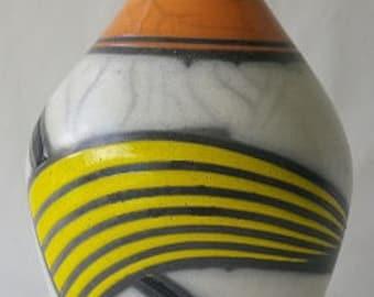 Raku Pot - Orange, Yellow & Black