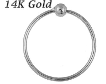 Beaded nose ring 14K Solid WHITE Gold 22G 6mm-10mm Soldered 1 Side 2mm Ball (Made in USA)