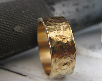 14k Gold Mens Wedding Band Unique Mens Wedding Band Rustic Mens Wedding  Band Viking Wedding Ring Artisan Mens Wedding Bands Wedding Rings