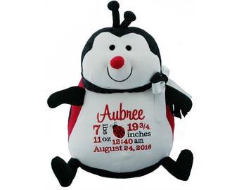 Ladybug personalized stuffed birth announcement, Embroidered Ladybug,Plush Baby Ladybug toy, Ladybug cuddly animal, Ladybug baby gift,