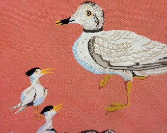 Mid-Century Needlepoint Rug of Shoreline Birds