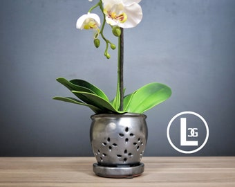 "Hilo 2018 Edition (LARGE 7.0"") Handmade Ceramic Orchid Pot With Attached Saucer, Orchid Planter, Glazed Pottery 