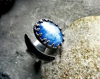 Kyanite ring, Crescent moon ring