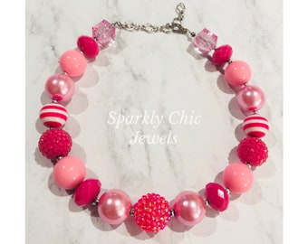 Pink Chunky Necklace, Little girl necklace,  Pink Necklace