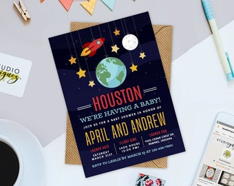 Houston, We're Having a Baby! Baby Shower Invitation, Rocket Ship Baby Shower, Outer Space Baby Shower Invitation, Digital JPG only