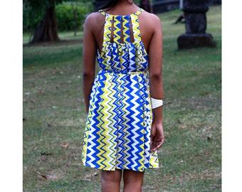 Yellow and Blue Chevron Dress, Short dress, women's summer dress