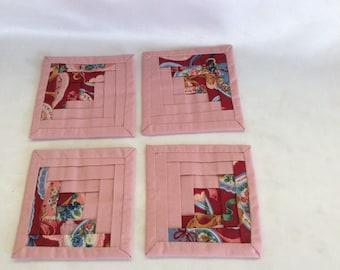 Set of 4  Vintage Fabric Coasters