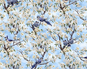 Blank BIRDS OF A FEATHER Quilt Fabric By The 1/2 Yard By Linda Picken - Blue 9006 11