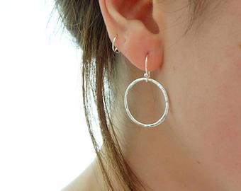 Silver Circle Earrings - Circle Drop Earrings - Sterling Silver Hoop Earrings - Hammered Circle Earrings