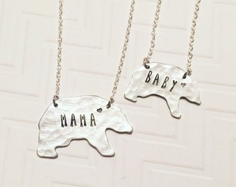 Mama Bear Baby Bear Necklace Set - Hand Stamped Necklace - Personalized Necklace - Gift For Mom - Mothers Day Gift- Silver Bear - Heart