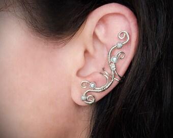 Silver Ear Cuff Elegant Ear Wrap