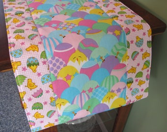 """Easter Table Runner 36"""" Reversible Decorated Colored Easter Eggs  Chicks Table Runner Pink Blue Easter Egg Table Runner Easter table decor"""