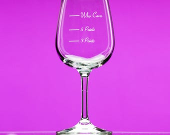 Caloric Cuvee® - The Points Wine Glass - Who Cares?® stemmed - indulge by the ounce - gift for friend - watching weight - counting calories