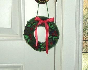 Needle Felted Christmas Wreath Door Hanger