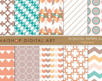 Digital Paper 'Gabriela' Pink Pale, Greenish Blue, Orange... Geometrical, Chevron Pattern, Stripes for Scrapbook, Crafts...