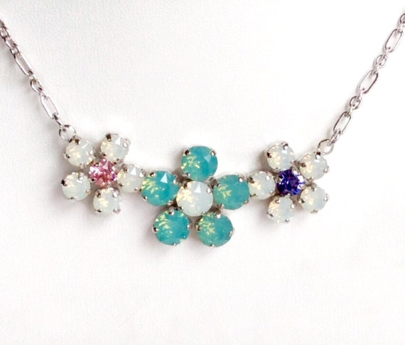 Swarovski Crystal Necklace - 8.5mm, 6mm - Pacific Opal and White Opal - Three Flower Pendant -  Sparkle & Shimmer - FREE SHIPPING