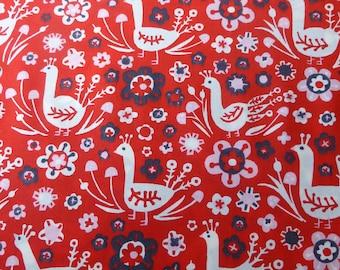 1/2 Yard Organic Cotton Fabric - Birch Fabrics Folkland - Pheasants birds
