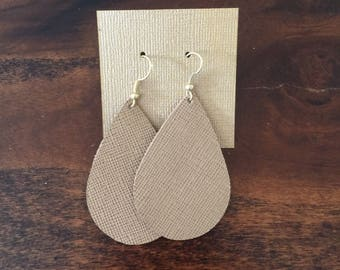 Linen Leather Earrings