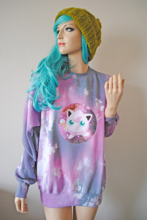 Jigglypuff Pokemon Kawaii Pink Tie Dye Jumper hipster tumblr cute gift gamer harajuku pastel goth oversized anime