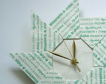 Unique 1st Wedding Anniversary Personalized Origami Clock - With Green Type - Large