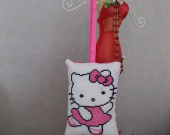 Hanging pillow embroidered cross stitch