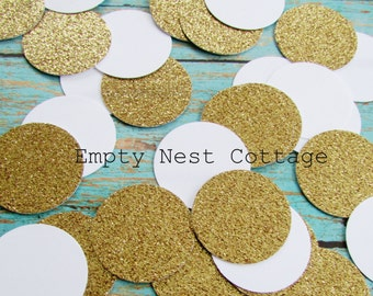 Gold and White Confetti, Circle Confetti Toss, New Years Eve, Holiday Decor, Twinkle Twinkle, Embellishment, Table Decor