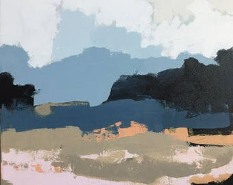 large abstract landscape painting abstract art navy blue indigo blue grey blue blush pink pamela munger