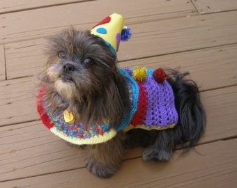 Dog costume - FROLIC THE CLOWN - Sweater - 2 to 20 lb dogs