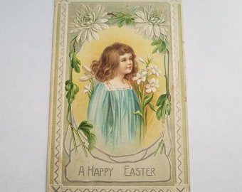 A Happy Easter Antique Postcard Vintage Ephemera Printed in Germany