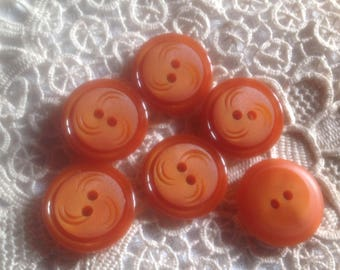 Set of six vintage years 70-80 buttons