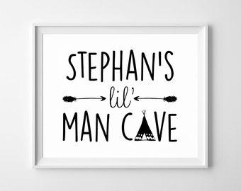 Lil' Man Cave - Nursery Poster - Printable, Wall Art, Boy, Kid Bedroom Decor, Personalised
