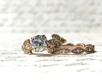 Jasmina Duo - 14k Rose Gold with Diamond and OEC Moissanite, Vintage Inspired engagement ring and band