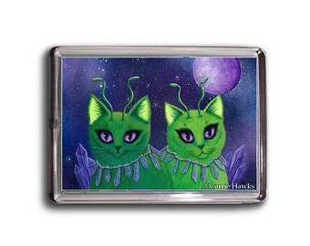 Alien Cats Magnet Space Cats Purple Crystals Fantasy Cat Art Framed Magnet Cat Lovers Gifts
