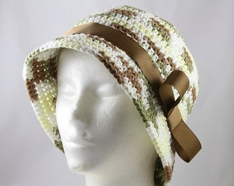 Brimmed Chemo Hat in Woodland Colors - Cancer Hat/Chemo Hat/Cancer Cap/Chemo Cap