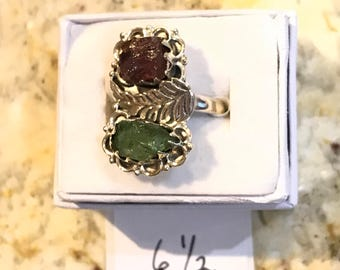 Rough Pink and Green Tourmaline 925 Sterling Silver , Size 6 1/2
