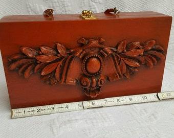 Vintage Wood Box purse, folk art