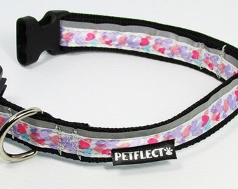 Hearts Themed Dog Collar - Reflective - Nylon - Super Strength