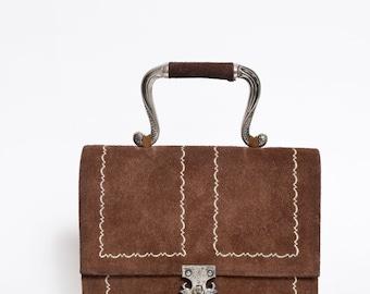 Vintage 70's Brown Tyrol Austria Style Suede Handbag Purse