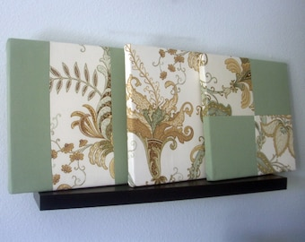 "Sea Green, Ivory, Tan, and Brown Floral Fabric Canvas, 12 inch Square Wall Art, Designer Cotton, ""Seafoam Mimosa"""