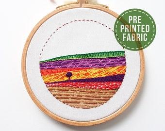 Landscape pre-printed fabric | Pattern | Tutorial | Level 2 | Modern Hand embroidery | Road to Medina | Craft gift | DIY gift | Kushimari