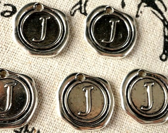 Alphabet letter J wax seal charm silver vintage style jewellery supplies