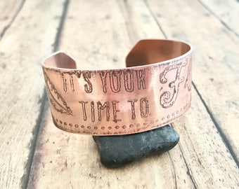 Bird and Feather Cuff Bracelet, Etched Copper, It's Your Time to Fly, Bird Flying and Feather Cuff Bracelet