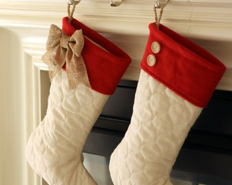 Quilted Christmas Stockings with Red Cufsf - Set of Two (2)