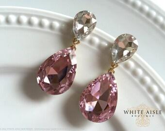 Pink Crystal Wedding Earrings, Bridal Earrings, Statement Earrings, Dangle Earrings, Drop Earrings, Vintage Inspired, Bridal Jewelry