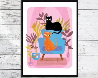 Cat print Wild Inside  - Cat prints - Ginger cat - Black cat - Cat art print - Cats and Plants - Cat lover gift - Cat Print - Valentine