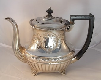 Victorian 1020 grams Sterling Silver Coffee Pot Teapot Fluted Repousse